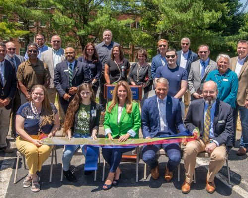 Seven States Power, BrightRidge, ETSU, and community leaders celebrate the installation of eight EV charging stations on campus.